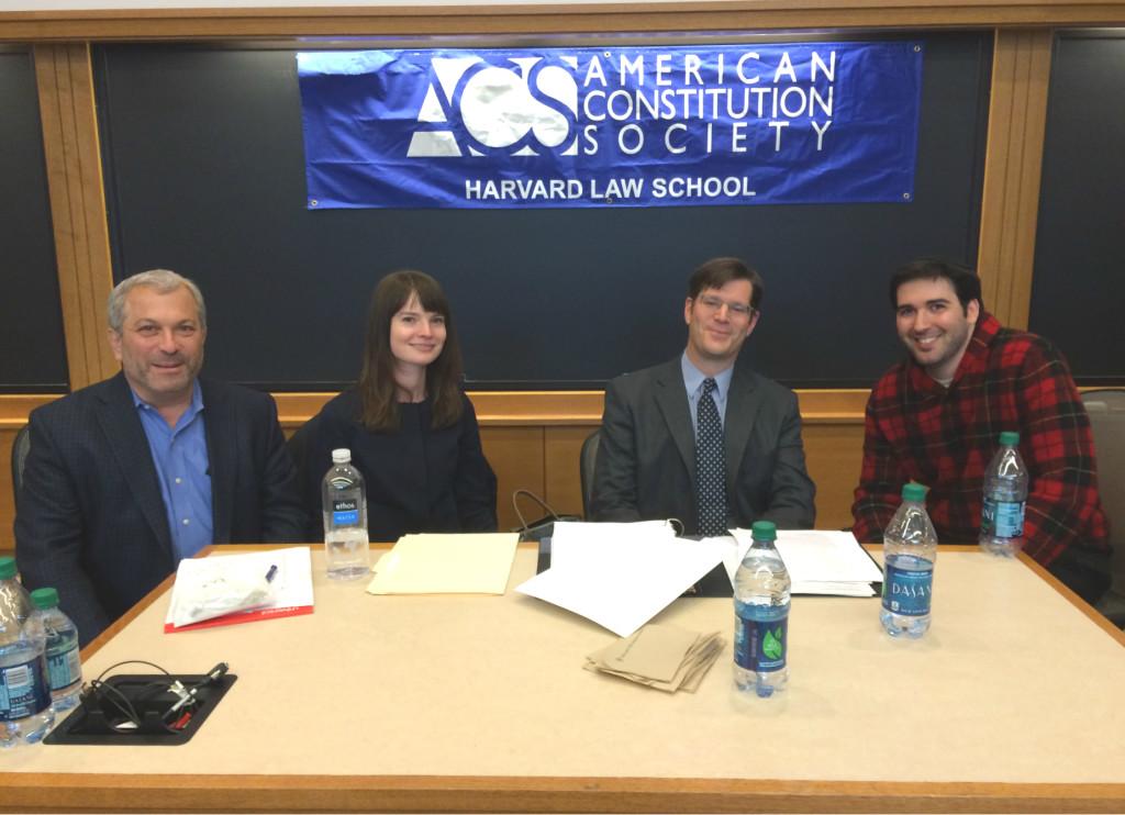 (l-r: Professor Robert Greenwald, Rachel Gargiulo, Matthew Hellman, and Yaakov Roth)
